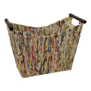 Unique Recycled Multi Colored Paper Magazine Basket With Wood Handles For Sale