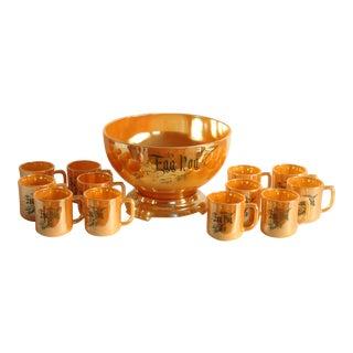 Egg Nog Peach Lustre Punch Bowl & Fire King Mugs - Set of 13 For Sale