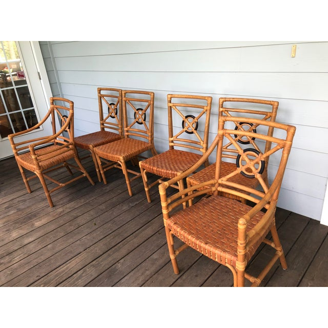 Campaign McGuire Rattan Rawhide Target Chairs- Set of 6 For Sale - Image 3 of 13