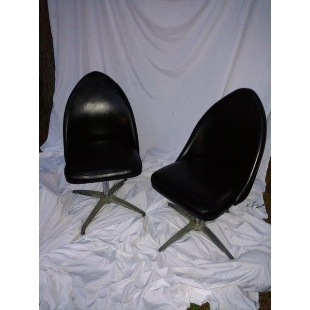 Vintage Black Vinyl Swivel Chairs - A Pair - Image 3 of 8