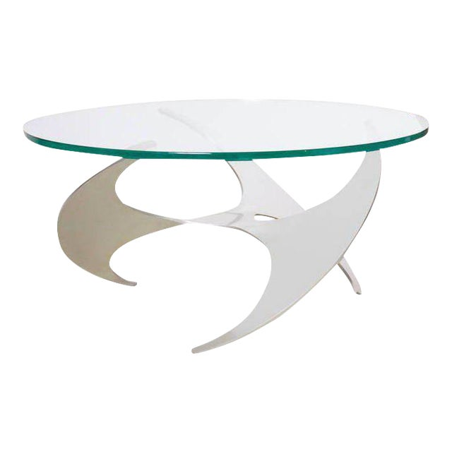 Aluminum and Glass Propeller Coffee Table by Knut Hesterberg for Ronald Schmitt For Sale