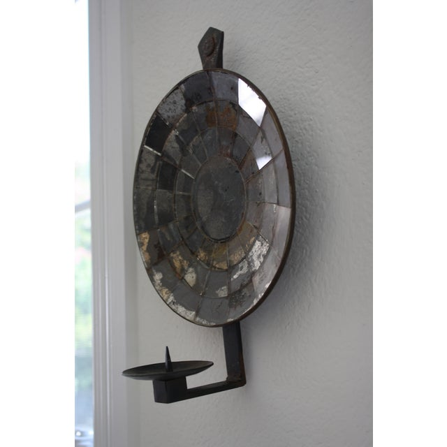 Mexican Handmade Iron Mirrored Reflector Candle Sconce - Image 3 of 10
