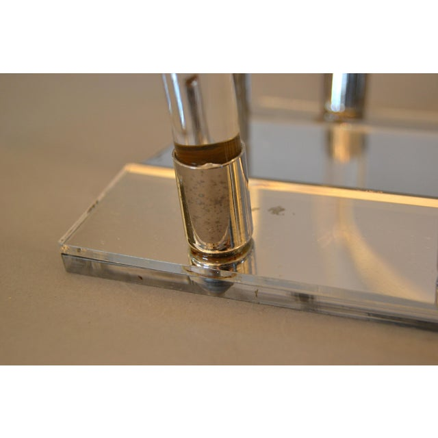 Metal Dorothy Thorpe Mid-Century Modern Magazine Rack Mirrored Glass, Lucite & Chrome For Sale - Image 7 of 12