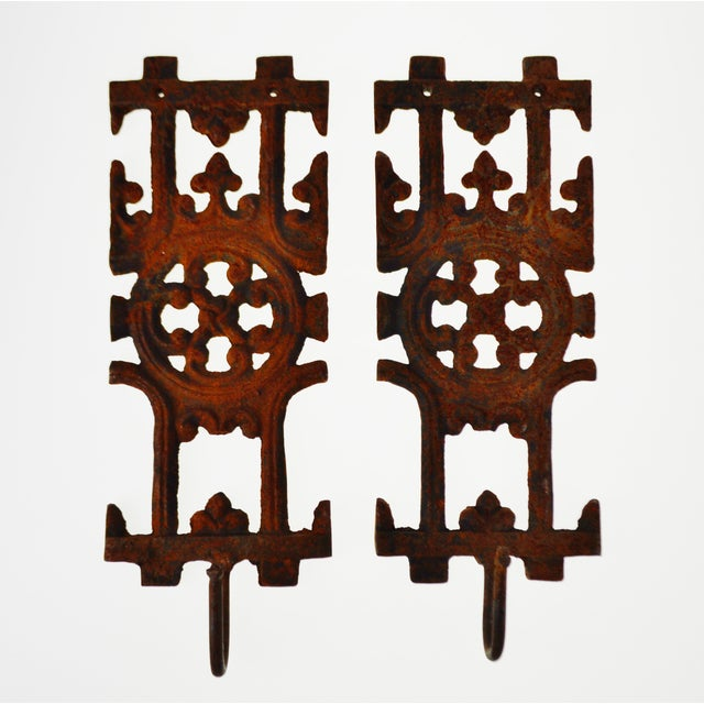 Pair of Asian Inspired Architectural Cast Iron Decorative Wall Art ...