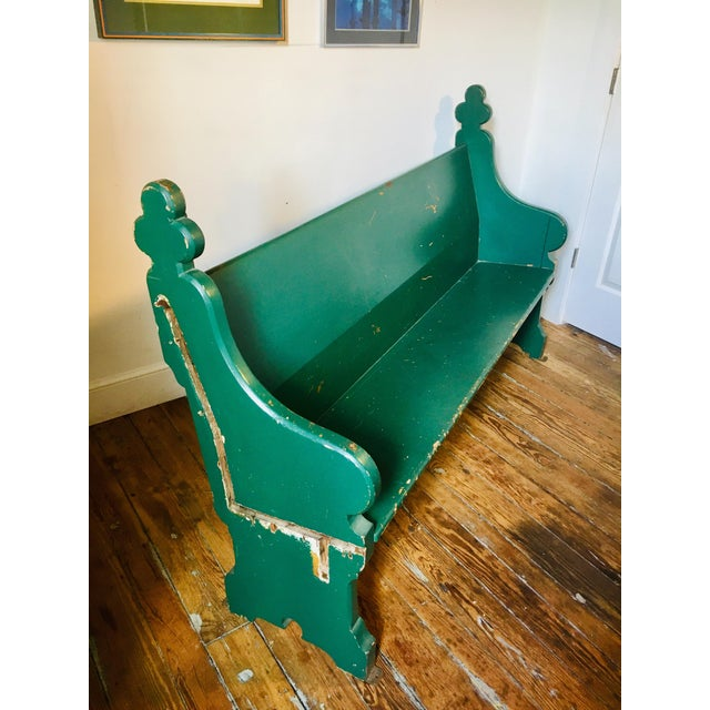 Late 19th Century Vintage Emerald Green Vernacular Gothic Pew For Sale - Image 4 of 11