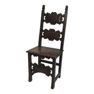 17th Century Vintage Italian Renaissance Side Chair For Sale
