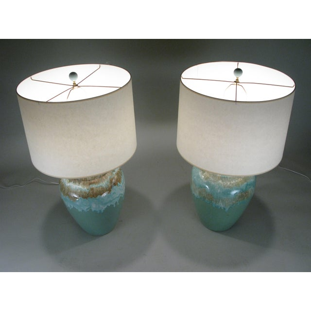 Large 1960s Glazed Ceramic Lamps - a Pair For Sale In New York - Image 6 of 7