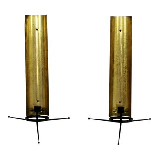 Mid Century Modern Tony Paul Brass and Black Metal Wall Sconces 1950s - a Pair For Sale