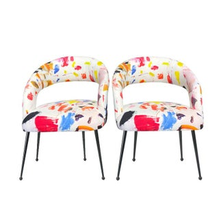 Bauhaus Abstract Upholstered Dining Chairs in Pierre Frey Arty Fabric - a Pair Preview