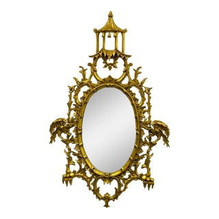 La Barge Chinese Chippendale Style Carved Giltwood Pagoda Mirror For Sale