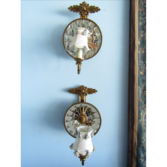 Mirrored Wall Sconces - A Pair - Image 2 of 7
