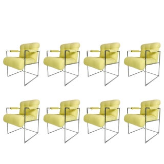 Thin Line Chrome Midcentury Armchairs by Milo Baughman 'Set of 8' For Sale