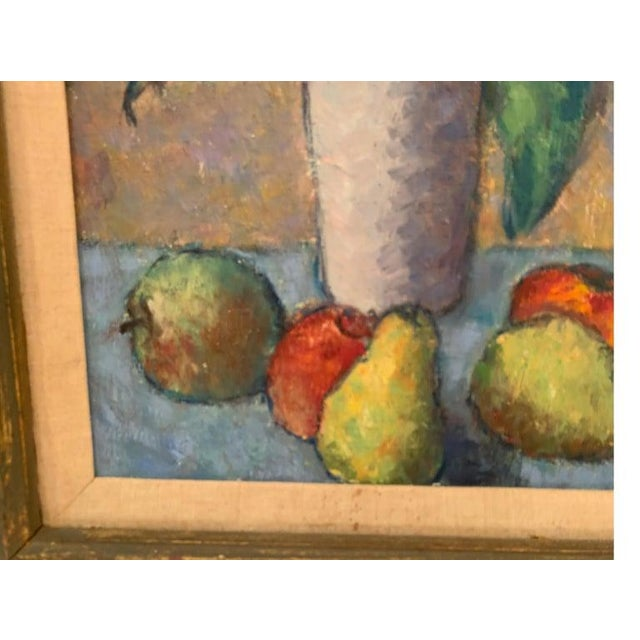 Mid-Century Modernist Still Life Oil on Canvas Painting For Sale - Image 4 of 10