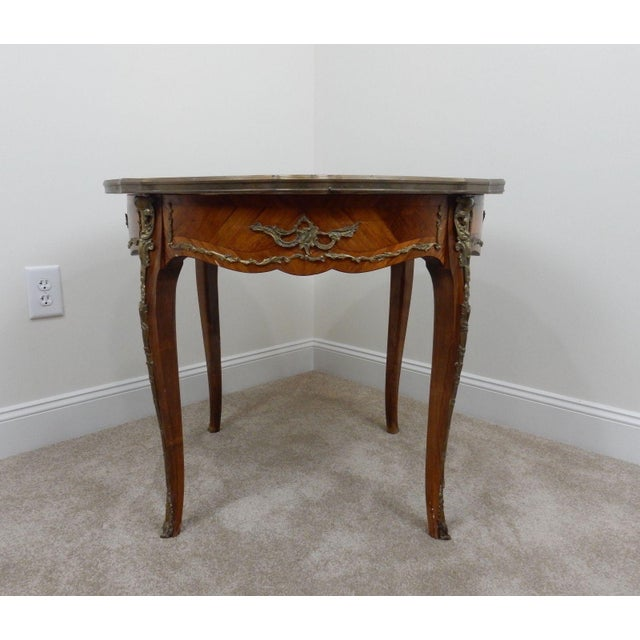 Antique French Inlaid Marble Top Table For Sale - Image 9 of 11