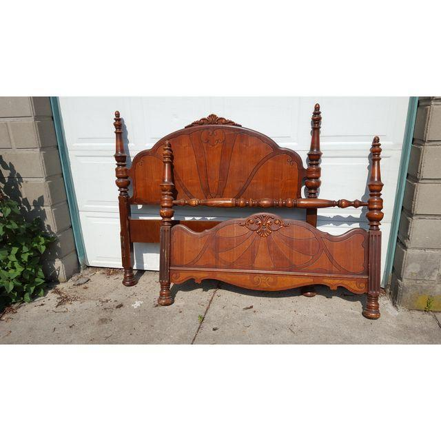 Antique Art Deco Waterfall Bed Set - Image 2 of 4
