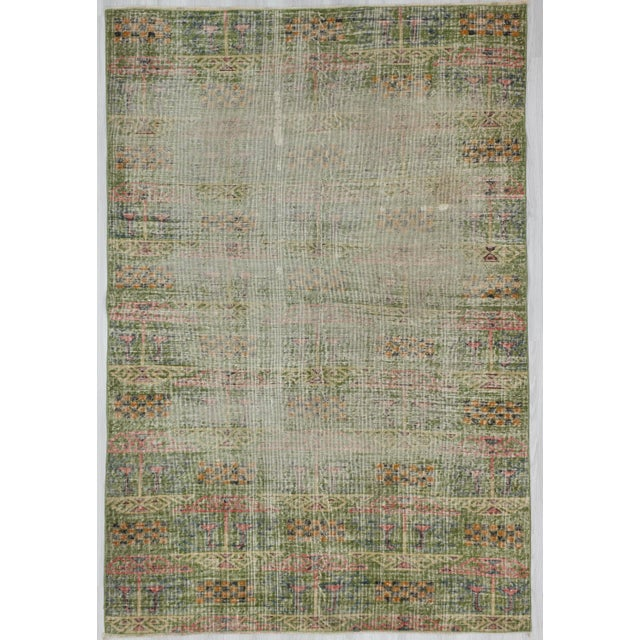 "Vintage Green Oushak Rug - 5'11"" x 8'8"" For Sale In Los Angeles - Image 6 of 6"