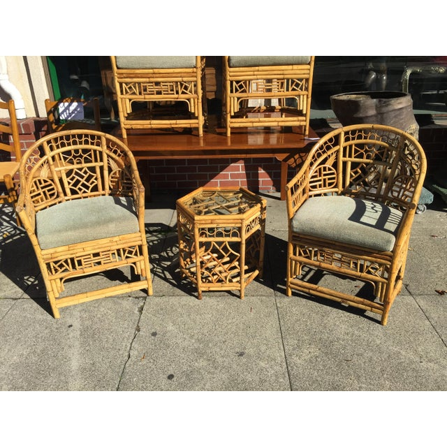 Asian 4 Chinese Chippendale Bamboo Chairs and Small Table For Sale - Image 3 of 8