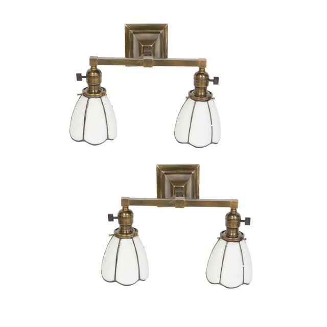 Metal 1910 Arts and Crafts Sconces With White Slag Glass Shades - a Pair For Sale - Image 7 of 7