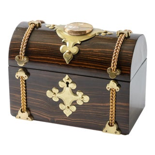 Antique English Dome Top Coromandel Wood Box For Sale