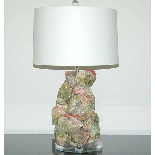 Contemporary Green Calcite Rock Table Lamps by Swank Lighting - a Pair For Sale - Image 3 of 10