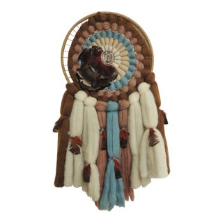 American Indian Round Wall Hanging Artisanal Sculpture For Sale