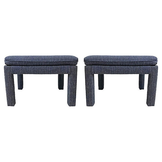 Pair of classic Mid Century Modern tufted blue tweed ottomans. Strong as-is vintage condition free of stains, rips and...