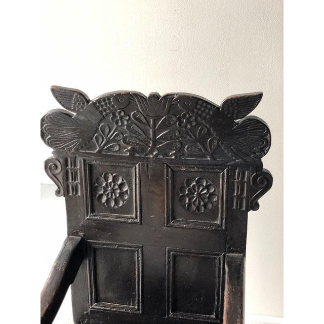 """British Carved Oak Great Chair Height: 47"""" Width: 21.5"""" Depth: 22"""" Seat Height: 18"""""""