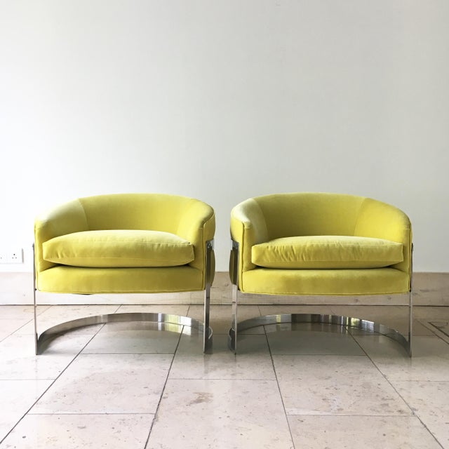 Pair of Milo Baughman Chromium Steel Framed Tub Chairs 1970s For Sale - Image 9 of 9