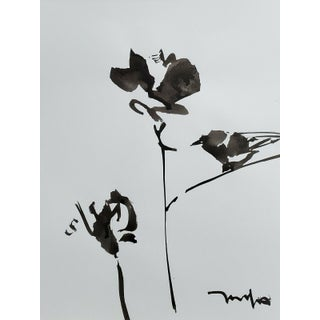 Contemporary Minimalist Abstract Floral Still Life Ink Wash Painting by Jose Trujillo For Sale