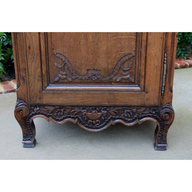 Antique French Country Oak 19th Century Liergues Bonnetiere Cabinet Armoire Wardrobe Bookcase For Sale In Dallas - Image 6 of 13