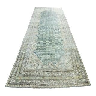 "1910s Antique Malayer Paisley Motif Blue Runner Handwoven Wool Rug - 16'6"" X 6'6"""