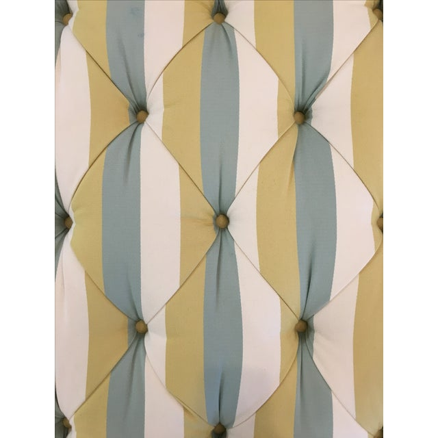 Striped Tufted Ottoman For Sale - Image 6 of 7