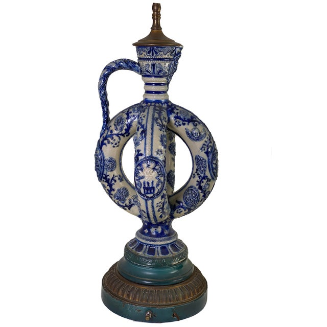 Rustic European Cobalt Blue Salt Glazed German Double Ring Flask as Lamps - a Pair For Sale - Image 3 of 9