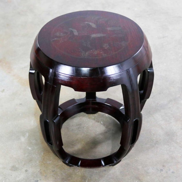Vintage Asian Rosewood Garden Stool or Barrel Drum Table With Brass Inlaid Design For Sale - Image 13 of 13