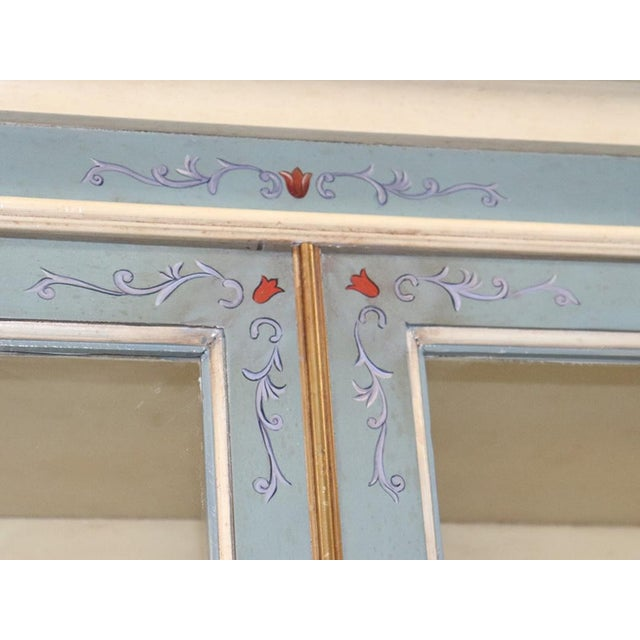 Wood English Regency Style Paint Decorated China Cabinet For Sale - Image 7 of 13