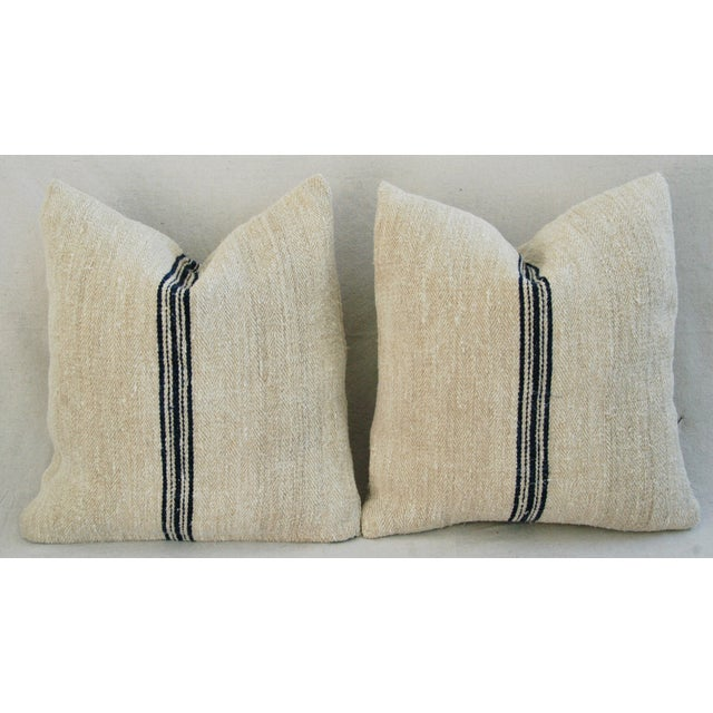 French Grain Sack Down & Feather Pillows - Pair - Image 7 of 11