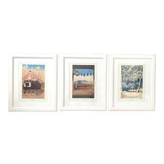 Framed Japanese Woodblock Reproduction Prints After Kawase Hasui - Set of 3 For Sale