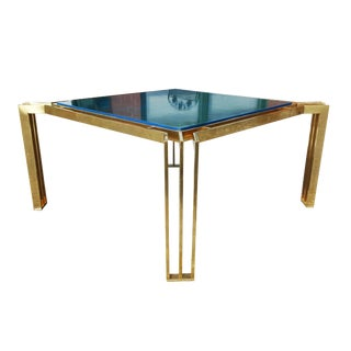 Mid Century Modern Brass and Blue Lacquer Coffee Table For Sale