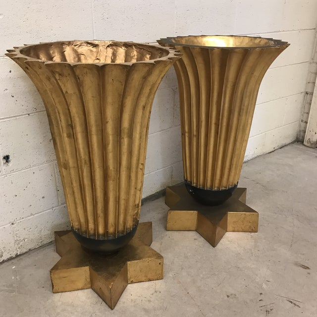 Gold Leaf Fiberglass Urns - A Pair - Image 4 of 11