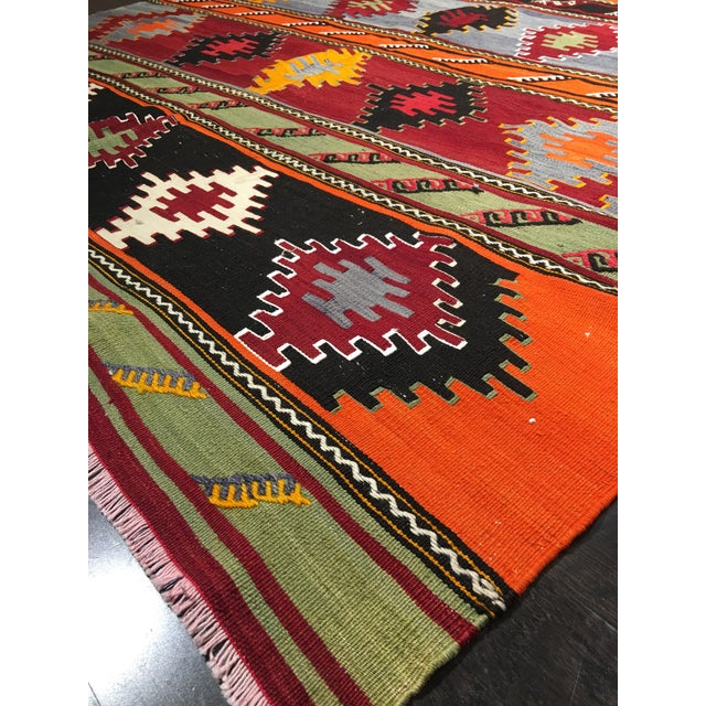 "Vintage Turkish Kilim Patterned Rug - 6'2""x11'3"" - Image 9 of 9"