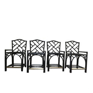 Black David Francis Furniture Chippendale Barstools - Set of 4