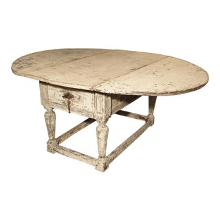 Painted Antique Drop Leaf Oak Table From Italy, 17th Century For Sale