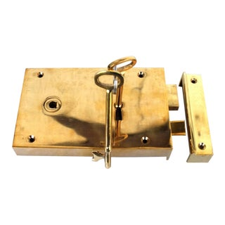 Antique Replica Surface Mounted Right-Hand Solid Brass Colonial Rim Lock For Sale