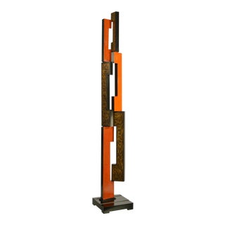 Black and Orange Mid Century Modern Skyscraper Sculpture For Sale