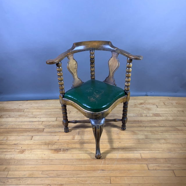 Art Nouveau Late 19th Century Continental Corner Chair, Green Leather For Sale - Image 3 of 10