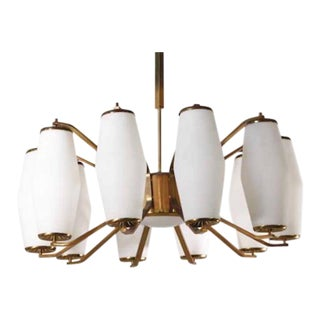 Stilnovo Grand Scaled Eleven Light Mid-Century Chandelier For Sale