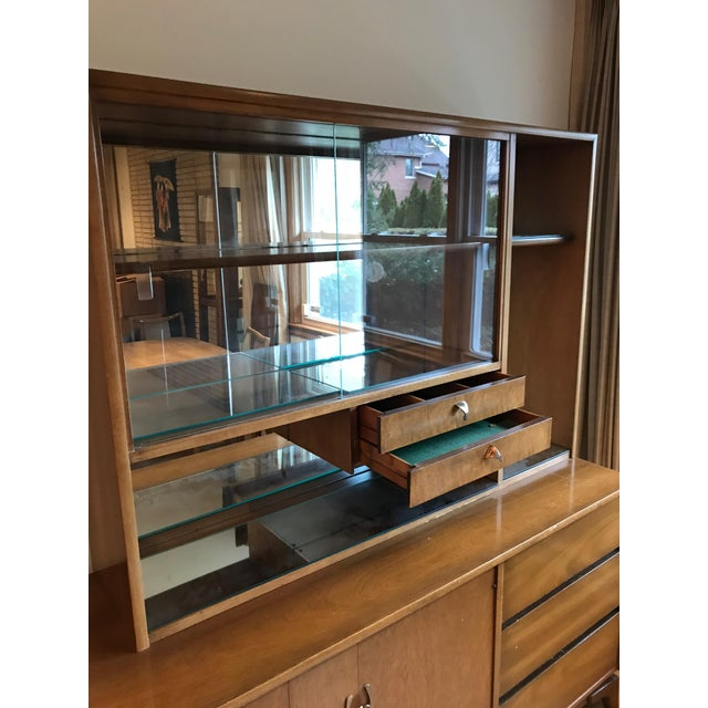 Mid-Century Modern Glass Doors Mirrored Dining Room China Cabinet ...