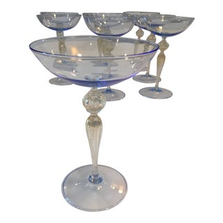 Murano Hand Blown Champagne Coupes - Set of 9 For Sale