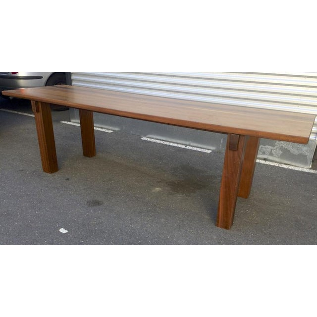 "Brown Charlotte Perriand Mahogany Long Dining Table Model ""Brazil"" Stamped Ed Sentou For Sale - Image 8 of 8"
