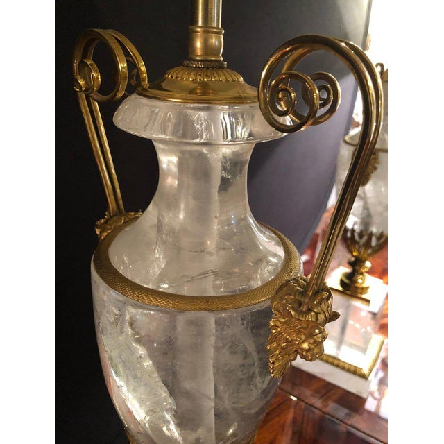 Pair of Palatial Gilt Gold and Rock Crystal Urn Form Table Lamps For Sale - Image 9 of 13